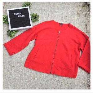 Eileen Fisher Front-Zip Round Neck Jacket